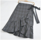 Price Korean Style Thousands Of Birds Female Flounced Skirt A Half Length Skirt In Dress Gray Oem New