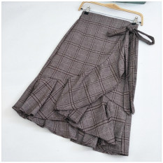 Top 10 Korean Style Thousands Of Birds Female Flounced Skirt A Half Length Skirt In Dress Khaki