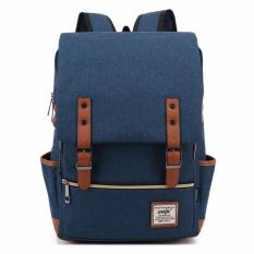 Purchase Korean Style Unisex Backpack Sch**l Bag Handbag Navy Blue