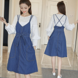 Discounted Korean V Neck Open Back Loose Fit Suspender Denim Dress Midi Skirt
