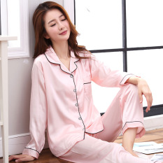 Discounted Women S Korean Style Long Sleeve Viscose Pajama Set Pink Pink