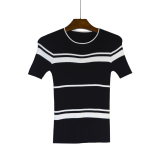 Korean Style Viscose Fibre Female Pullover Short Sleeve Top Striped Short Sleeved Knit Shirt Black On China
