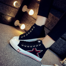 Compare Prices For Korean Style White Female Flat Cloth Shoes Hight Top Sail Cloth Shoes Black