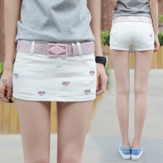 Review Korean Style Cowboy White Skirts Pants Short Pants Total China