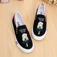 Best Reviews Of Korean White Spring Flat Slip Graffiti Canvas Shoes Black Lily G*rl Black Lily G*rl