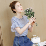 Korean Style Women S Short Sleeved Sweet Top Striped Shirt Shopping