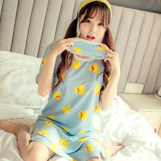 Latest Korean Style Women S Summer Mid Length Cotton Short Sleeved Pajamas Lingerie Duck Dress