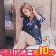 Deals For Korean Style Women S Thin Shirt Collar Short Sleeved Home Clothes Silk Pajamas Short Sleeved Silk Blue Bear High Quality Version