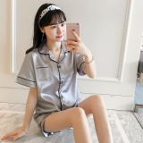 Korean Style Women S Thin Shirt Collar Short Sleeved Home Clothes Silk Pajamas Short Sleeved Silk Silver Color High Quality Version Price Comparison