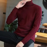 Cheap Korean Style Yarn Student Male Base Shirt High Collar Sweater Wine Red Color Online