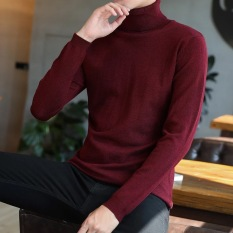 Best Offer Korean Style Yarn Student Male Base Shirt High Collar Sweater Wine Red Color