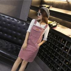 Latest Loose Korean Style Pink Spring And Summer Corduroy Strap Dress Pink Pink