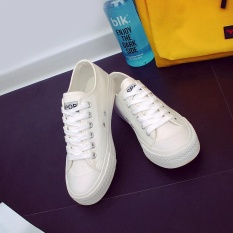 Recent Korean Version Of The Classic Low To Help Tie The Bottom Of The Board Shoes Sch**l Fresh Color Canvas Shoes For Girls And Boys White Intl