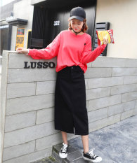 Front Slit Long Section Long Skirt A Word Skirt Half Length Skirt Black Black Compare Prices