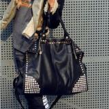 Compare Prices For Women S Korean Style Stylist Rhinestones And Rivets Large Bag