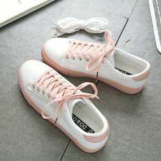 a911e86a2 Women's Korean-style casual white canvas shoes (Pink)