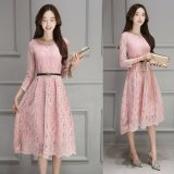 How To Buy Spring And Autumn Temperament Lace New Tide Korean Style Embroidery Dress Pink