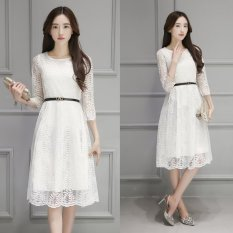 Retail Spring And Autumn Temperament Lace New Tide Korean Style Embroidery Dress White