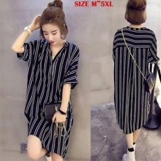Korean Women Long Sleeve Blouse V Neck Vertical Striped Dress Loose Fit Chiffon Sun Protect Semilucent Pullover Shirts Button Down Large Size Intl Online