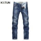 Compare Price Men Jeans Business Casual Thin Summer Straight Slim Fit Blue Jeans Stretch Denim Pants Trousers Classic Cowboys Young Man Blue Kstun On China