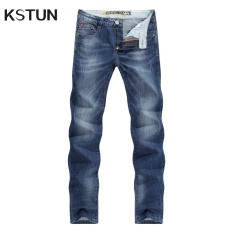 Men Jeans Business Casual Thin Summer Straight Slim Fit Blue Jeans Stretch Denim Pants Trousers Classic Cowboys Young Man Blue In Stock