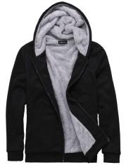 Kuhong Men's Winter Hooded Long Sleeve Zipper Mens Jacket Hoodie - intl