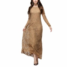 Price Kuhong Muslim Women Long Sleeve Dress Islamic Women Dress Clothing Robe Kaftan Moroccan Fashion Lace Dress Khaki Intl Kuhong New