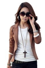 Kuhong New Trendy Slim Blazer Women Elegant Lapel One Button Long Sleeve Blazer Woman Short Suit Jacket Lady Blazer Coat Coffee Intl Coupon Code