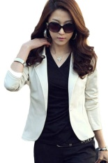 How To Get Kuhong New Trendy Slim Blazer Women Elegant Lapel One Button Long Sleeve Blazer Woman Short Suit Jacket Lady Blazer Coat White Intl