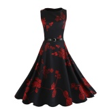 Review Kuhong Women Casual Audrey Hepburn Style Vintage Flower Halter Neck Big Swing Dress Intl Kuhong