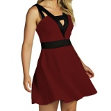 Best Offer Kuhong Women Fashion Stitching Deep V Collar Vest Dress Burgundy Intl