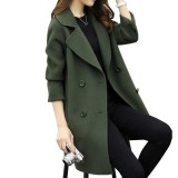 Low Price Kuhong Women Winter Stylish Loose Slim Cocoon Type Double Breasted Tweeds Coat Women Button Coat Intl