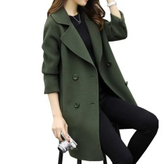 Best Kuhong Women Winter Stylish Loose Slim Cocoon Type Double Breasted Tweeds Coat Women Button Coat Intl