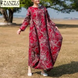Sale L 5Xl Zanzea Women Retro Floral Print O Neck Long Sleeve Robe Kaftan Linen Loose Party Casual Maxi Long Dress Wine Red Intl Online On China