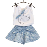 Best Rated La Vie Girls Sleeveless Bow Tops T Shirt Plaid Shorts Outfits Children Sets
