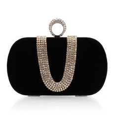 Review La Vie Women Chains Full Rhinestone Evening Clutches Party Bag Black Intl Oem On China
