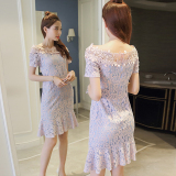 Price Women S Lace Slim Fit Fishtail Skirt Violet Oem New