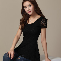 Who Sells Lace Short Sleeved Female Summer Lotus Leaf Edge Top Black Cheap