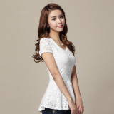 Retail Price Lace Short Sleeved Female Summer Lotus Leaf Edge Top White