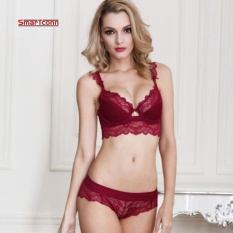 Lace Unlined Wire Free Women Bra Full Coverage Push Up Brassiere Big Size Women Underwear ( Red) Intl Coupon