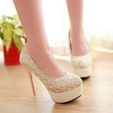 Lace Upper High Heeled Shoes Europe And The United States Style Spring And Autumn Shoes Women S Fashion Intl Shop