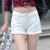 Sale Ladies Denim Shorts Korea Minimalism Loose Slim Slim Hole White Intl Unbranded