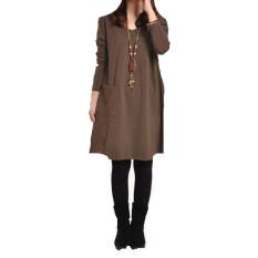 Shop For Ladies Long Sleeve Pockets V Neck Loose Casual Dress