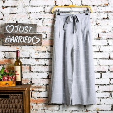 Ladies Pants Spring Korean Thin Cotton Wide Leg Pants Pants Nine Female Fashion Casual Pants Black Tie Intl For Sale Online
