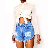 Ladies Vintage Ripped Womens High Waist Stonewash Denim Shorts Jeans Pants Blue Intl Sale