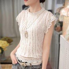 Recent Ladies White Lace Blouse Short Sleeve Stand Collar Women Tops Korean Elegant Patchwork Crochet Women Shirt White Intl
