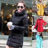 Great Deal Ladies Winter Coat Cotton Padded Jacket Down Jacket Zipper Hoodie Thickened Medium Long Intl