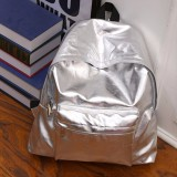 Lowest Price Ladies Womens Girls Satchel Backpack Rucksack Bag Sch**l Bags Glossy Silver