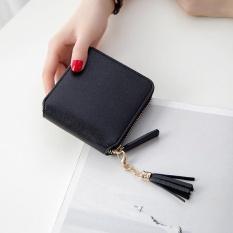 Lady Small Coin Card Purse Pu Zipper Short Bifold Mini Wallet Organizer Holder Pouch Black - Intl By Beautytop.