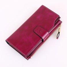 Lady Style Vintage Genuine Cowhide Oil Wax Leather Women Long Wallets Purse Wallet Women Card Holder Phone Clutch Wallets -(Rose Red) - intl